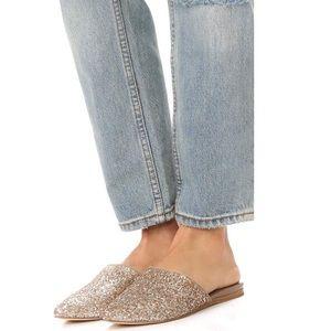 Joie Adiel Gold Glitter Mules Size 7.5
